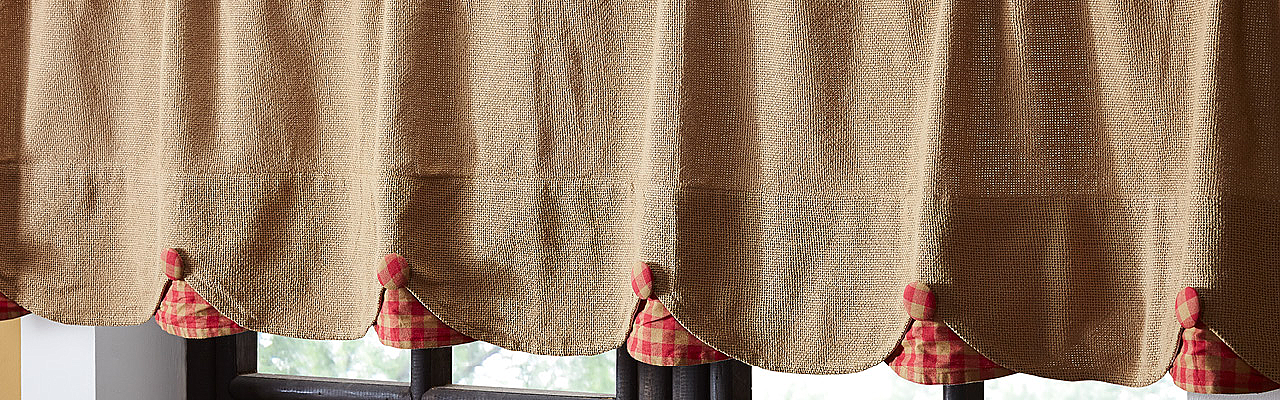 Burlap Natural with Red Check