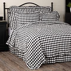 Annie Buffalo Black Check Ruffled King Quilt Coverlet 105Wx95L