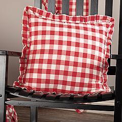 Annie Buffalo Red Check Ruffled Fabric Pillow 18x18