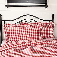 Annie Buffalo Red Check Ruffled King Sham 21x37