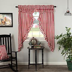 Annie Buffalo Red Check Ruffled Prairie Short Panel Set of 2 63x36x18