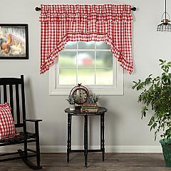 Annie Buffalo Red Check Ruffled Swag Set of 2 36x36x16