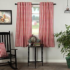 Annie Buffalo Red Check Short Panel Set of 2 63x36