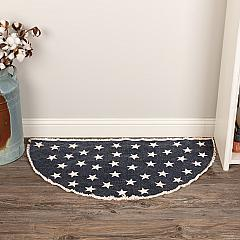 Antique Navy Star Rug Half Circle 16.5x33