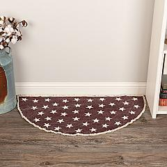 Antique Red Star Rug Half Circle 16.5x33