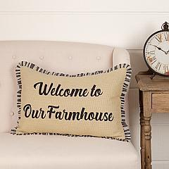 Ashmont Burlap Vintage Welcome to Our Farmhouse Pillow 14x22