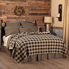 Black Check California King Quilt Coverlet 130Wx115L