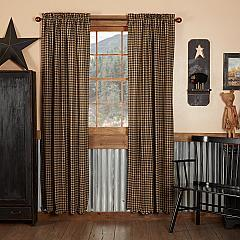 Black Check Scalloped Panel Set of 2 84x40