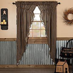 Black Check Scalloped Prairie Long Panel Set of 2 84x36x18