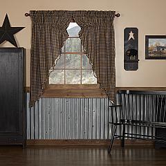 Black Check Scalloped Prairie Short Panel Set of 2 63x36x18