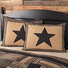 Black Check Star Standard Sham 21x27