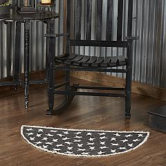 Black Primitive Star Rug Half Circle 16.5x33