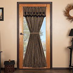Black Star Door Panel with Attached Scalloped Layered Valance 72x40