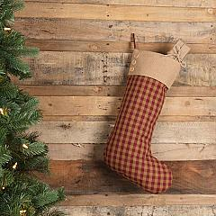 Burgundy Check Button Stocking 12x20