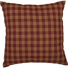 Burgundy Check Fabric Pillow 16x16