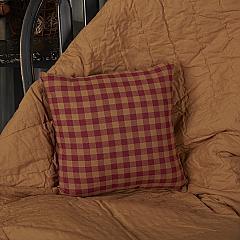 Burgundy Check Fabric Pillow 16x16