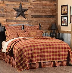 Burgundy Check King Quilt Coverlet 105Wx95L