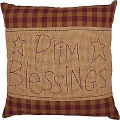 Burgundy Check Prim Blessings Pillow 12x12