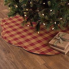 Burgundy Check Scalloped Tree Skirt 55
