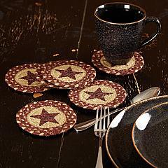 Burgundy Tan Jute Coaster Stencil Star Set of 6