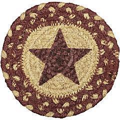 Burgundy-Tan-Jute-Coaster-Stencil-Star-Set-of-6-image-2