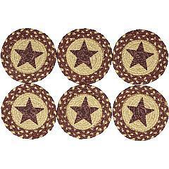 Burgundy-Tan-Jute-Coaster-Stencil-Star-Set-of-6-image-4