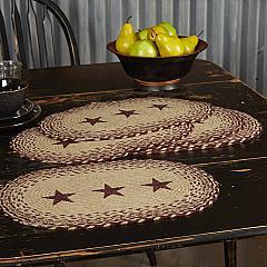 Burgundy Tan Jute Placemat Stencil Stars Set of 6 12x18