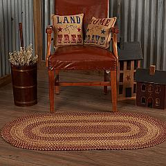 Burgundy Tan Jute Rug Oval 27x48
