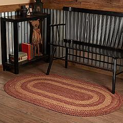 Burgundy Tan Jute Rug Oval 36x60