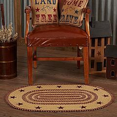 Burgundy Tan Jute Rug Oval Stencil Stars 24x36