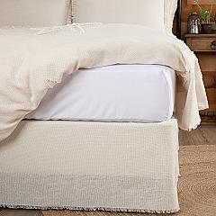 Burlap Antique White Fringed King Bed Skirt 78x80x16