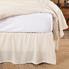 Burlap Antique White Ruffled King Bed Skirt 78x80x16