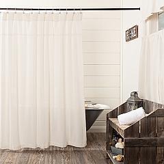 Burlap Antique White Shower Curtain 72x72