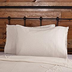 Burlap Antique White Standard Pillow Case w/ Fringed Ruffle Set of 2 21x30