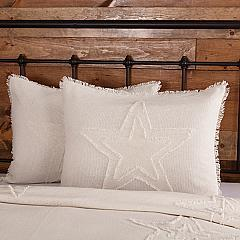 Burlap Antique White Star Standard Sham 21x27
