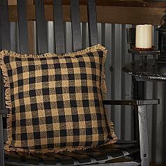 Burlap Black Check Pillow 18x18
