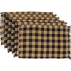 Burlap-Black-Check-Placemat-Fringed-Set-of-6-12x18-image-8