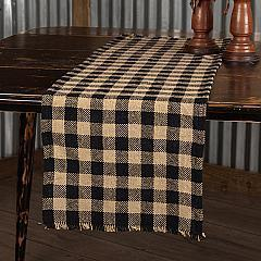 Burlap Black Check Runner Fringed 13x36