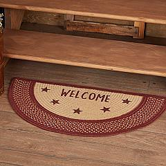 Burgundy Red Primitive Jute Rug Half Circle Stencil Stars Welcome 16.5x33