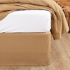Burlap Natural Fringed Queen Bed Skirt 60x80x16