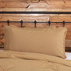 Burlap Natural King Sham w/ Fringed Ruffle 21x37