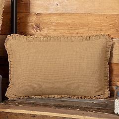 Burlap Natural Pillow w/ Fringed Ruffle 14x22
