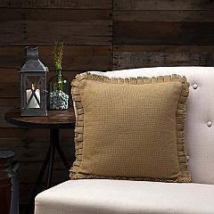 Burlap Natural Pillow w/ Fringed Ruffle 16x16