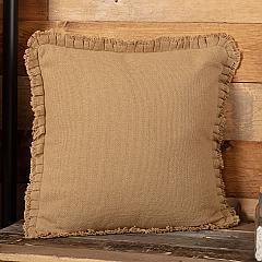 Burlap Natural Pillow w/ Fringed Ruffle 18x18