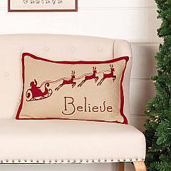 Burlap Santa Believe Pillow 14x22
