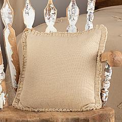 Burlap Vintage Pillow w/ Fringed Ruffle 18x18