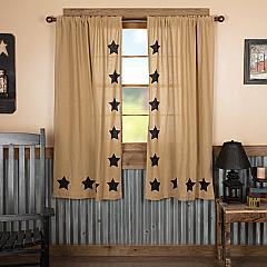 Burlap w/Black Stencil Stars Short Panel Set of 2 63x36