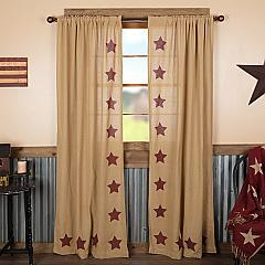 Burlap w/Burgundy Stencil Stars Panel Set of 2 84x40