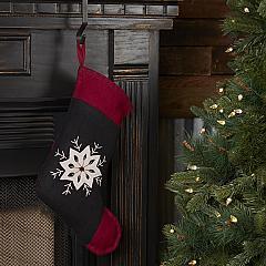 Christmas Snowflake Stocking Felt Embroidered 11x15