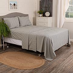 Classic Stripe Denim King 4PC Sheet Set (Fitted 78x75x16, Flat 108x105, 2 - Pillow Cases 21x40)